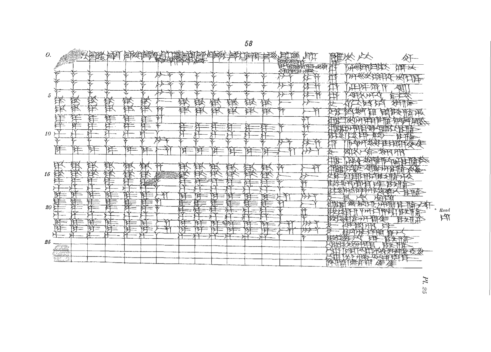 Line drawing of a tablet with lines dividing it into many rows and columns. The rightmost column is wider than the rest and contains many characters in each cell. The other cells contain one or a few characters, with a few cells empty.