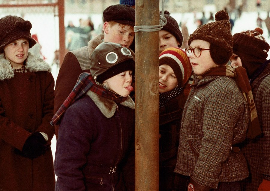 "Scene from ""A Christmas Story"", in which a boy licks an icy metal pole."